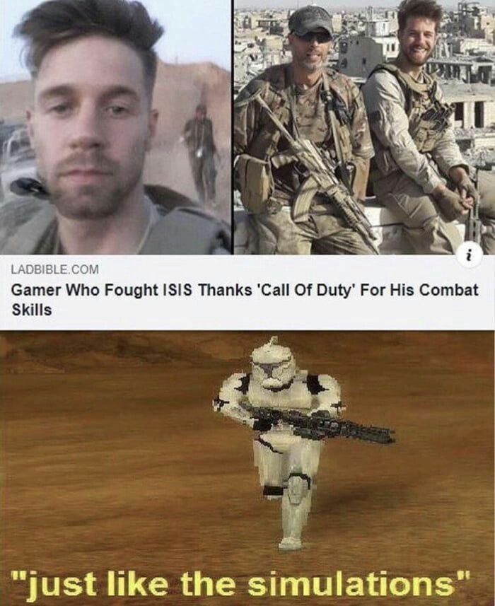 Just Like The Simulations Meme Subido Por Copenhaguenlink Memedroid Battlefront the screenshot used features the standard soldier class clone trooper running on the geonosis map with the caption just like the simulations. memedroid