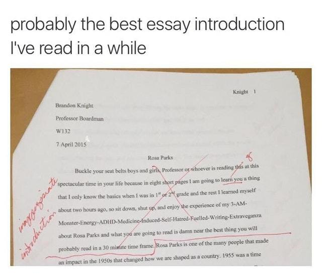 Essays In Science The Best Essay Introduction Ive Read  Meme By Knightofcydonia  Memedroid Yellow Wallpaper Essay also Proposal Essay Example The Best Essay Introduction Ive Read  Meme By Knightofcydonia  What Is Business Ethics Essay