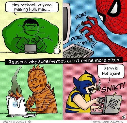 Raisons pour lesquelles les superhéros ne sont pas plus souvent en ligne - meme