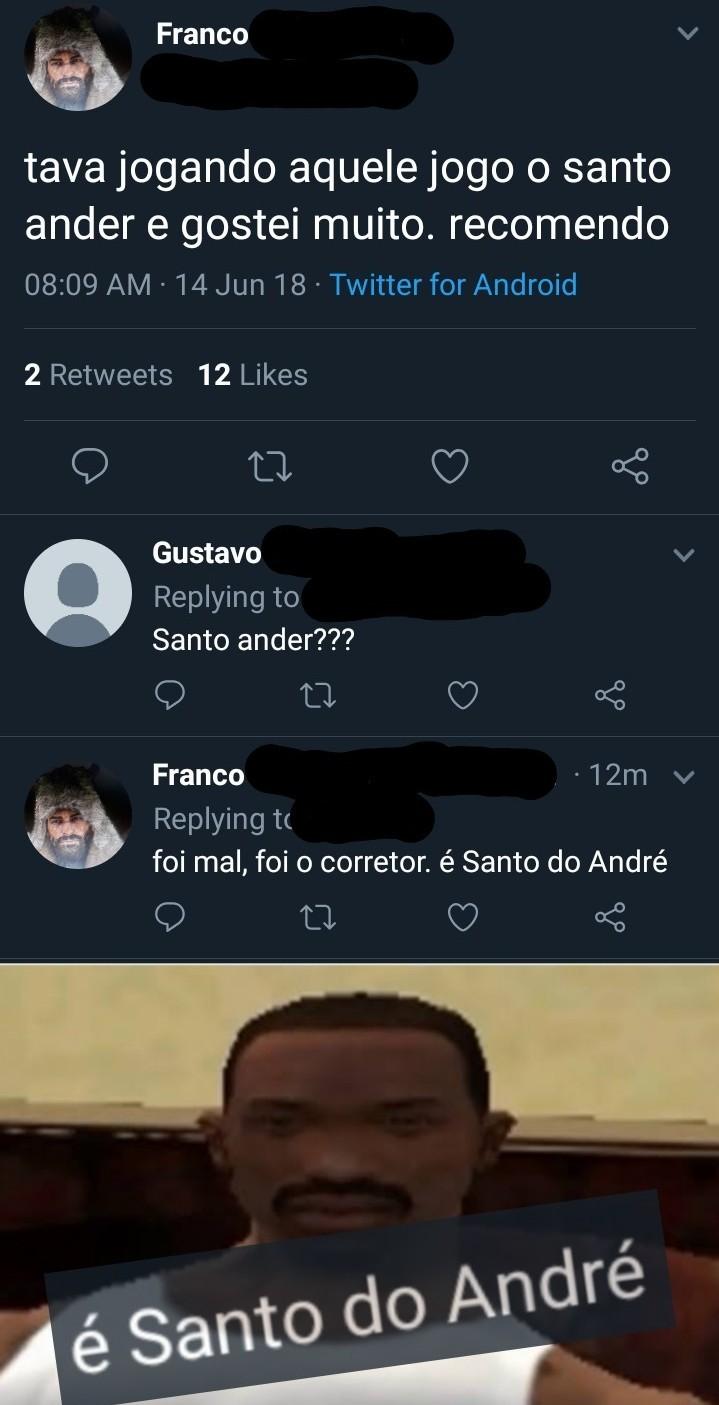 Cara burro, Santo do André é aquele banco - meme