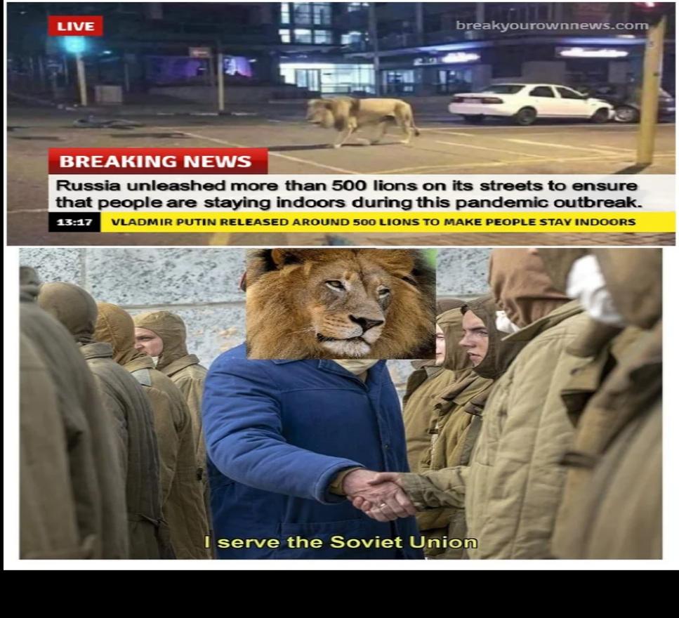 "*Roaring noises*  ""Communist lion detected"" - meme"