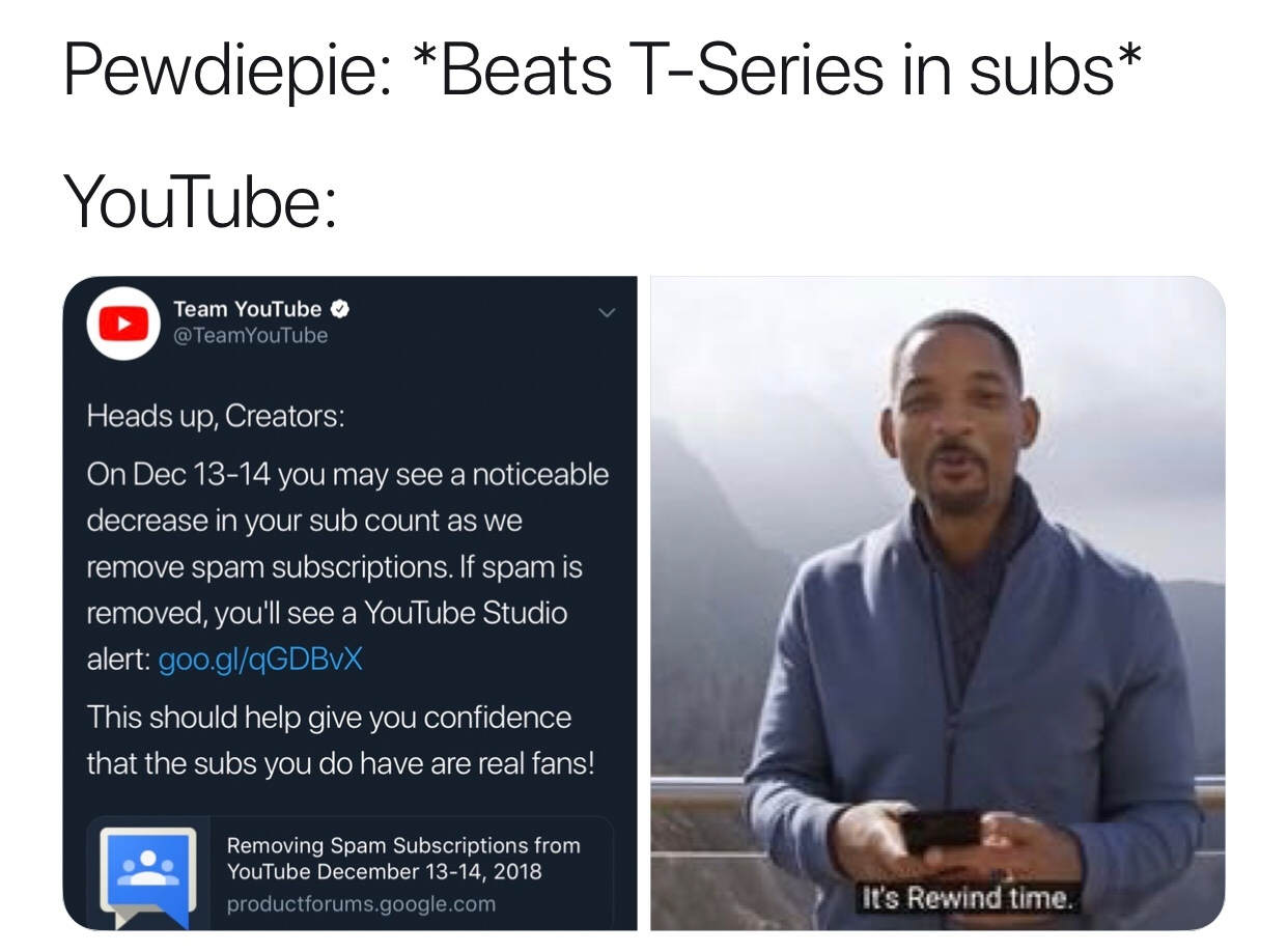 T-Series reset to 7 subscribers - meme