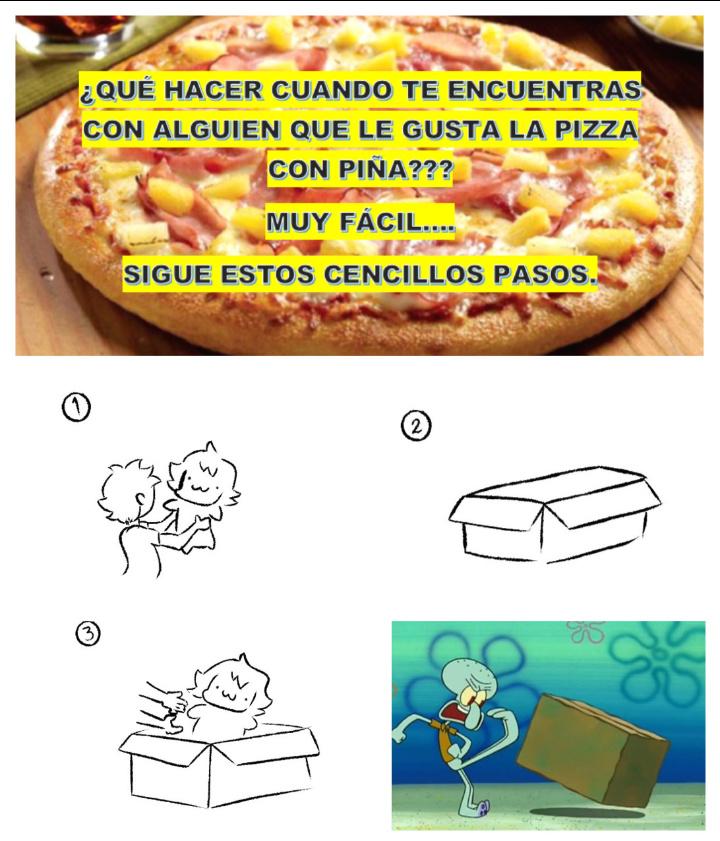 La pizza con piña es lo mejor - meme