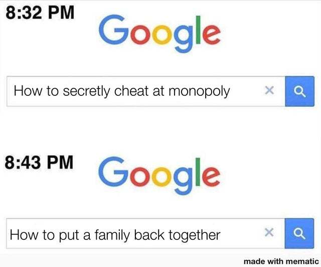 How to secretly cheat at Monopoly - meme