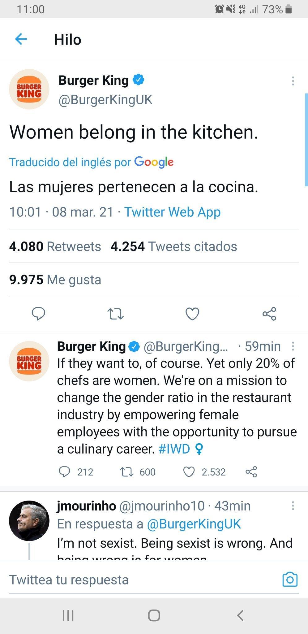 Tweet real de Burguer King UK - meme