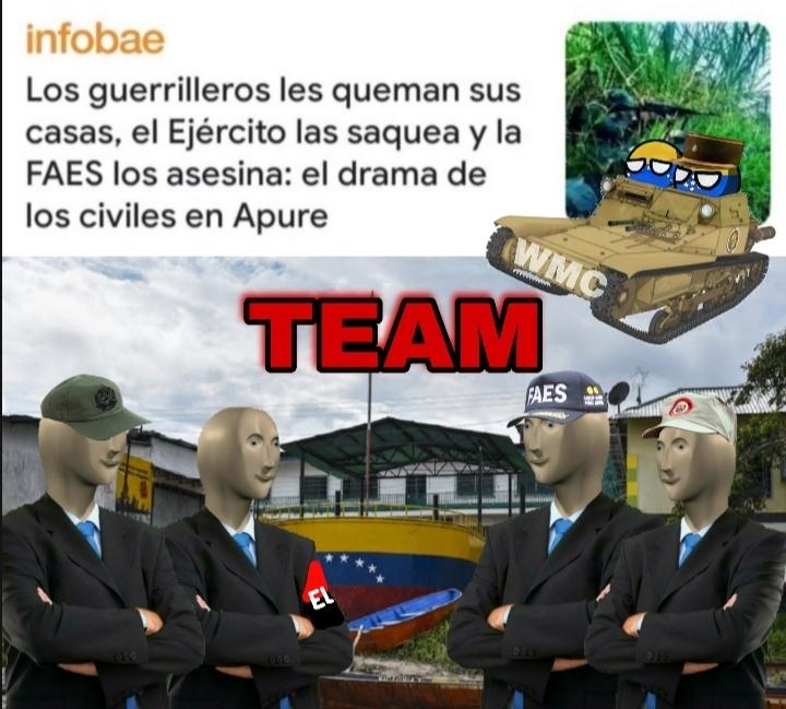 El primero es del ejército, el segundo es un ELN, el tercero es un FAES y el último un Miliciano chavista - meme