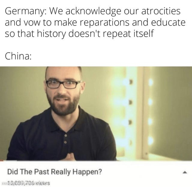 China vs Germany dealing with their past - meme
