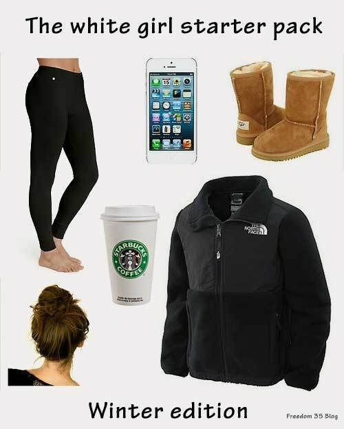 White girl starter pack, winter edition - meme