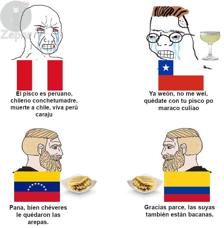 Conflicto arepa vs. conflicto pisco - meme