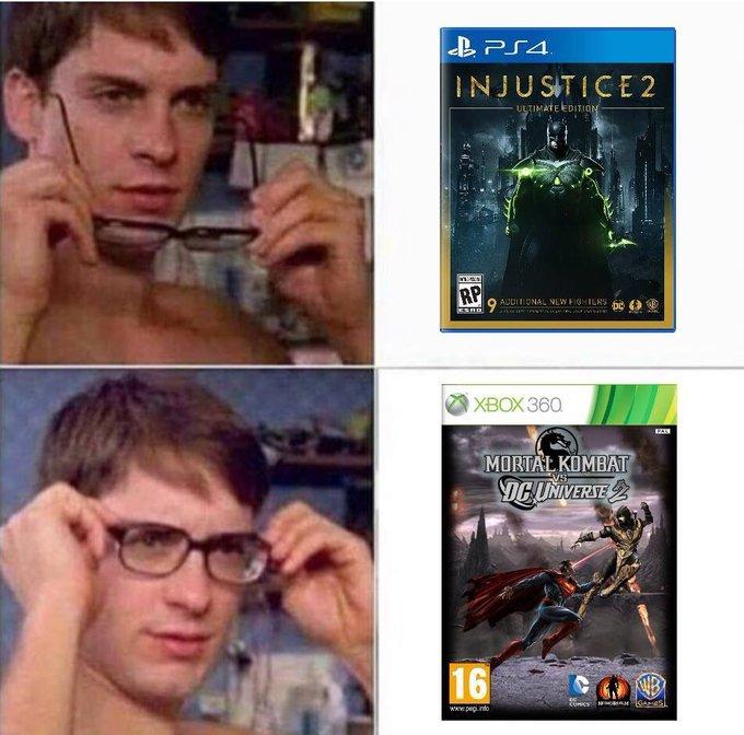 2 mortal kombat characters in a dc game - meme
