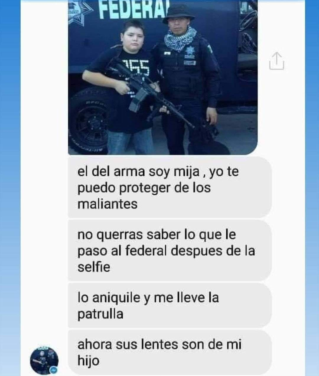 Mate a un policía pero ey! yo te protegeré - meme