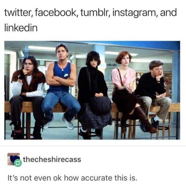Twitter, Facebook, Tumblr, Instagram and LinkedIn - meme