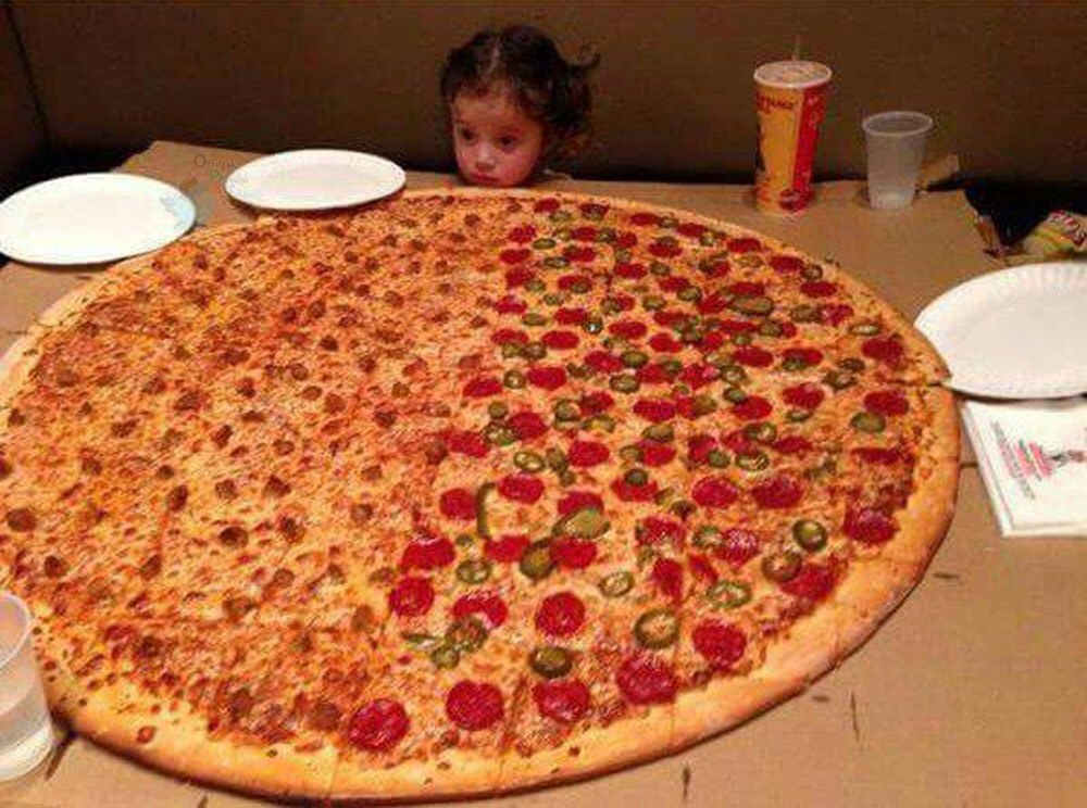 Little girl wishes she was everyone so she could eat the whole pizza - meme