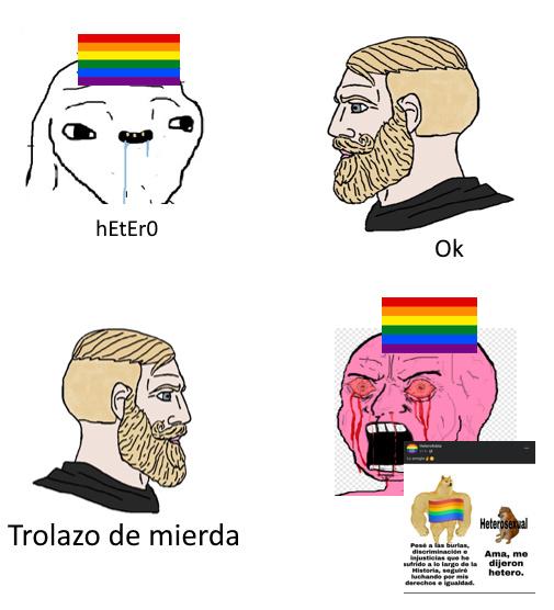 Trolos qlos creyendose superiores solo por ser unos gordos homosexuales - meme