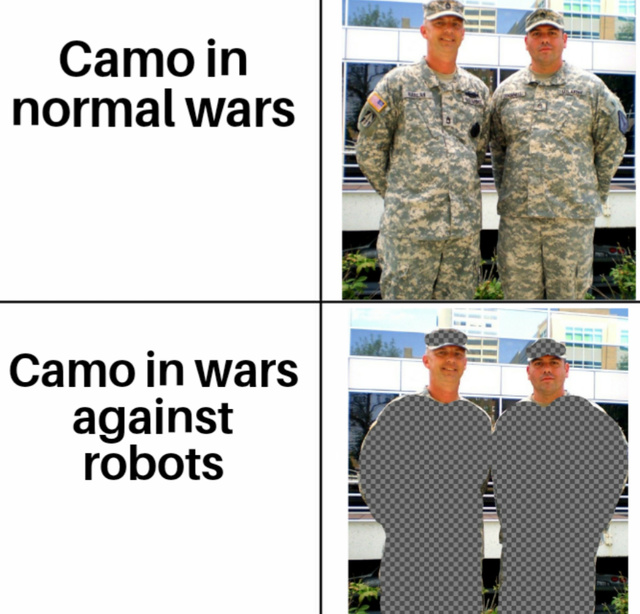 Camo against robots - meme