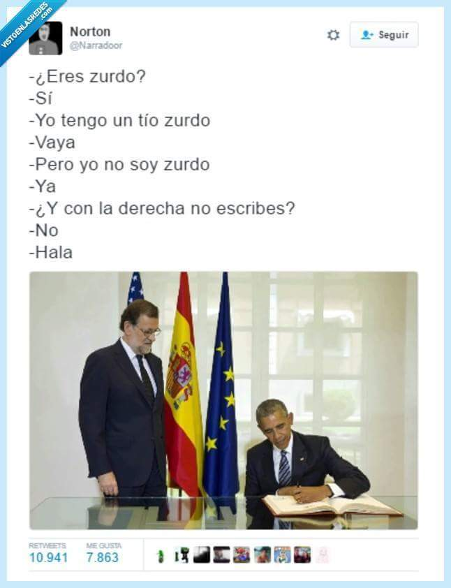 Obama es zurdo :$ - meme
