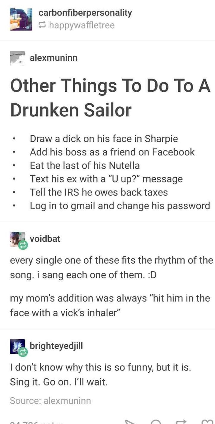 what to do with a drunken sailor - meme