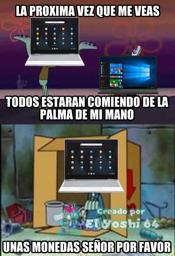 Por eso un Chromebook es peor que un PC con Windows - meme