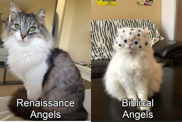 Renaissance angels vs biblical angels - meme