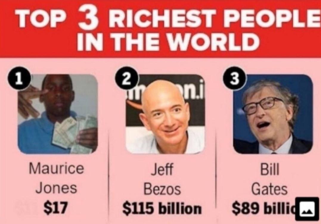 Maurice Jones, the richest man in the world - meme