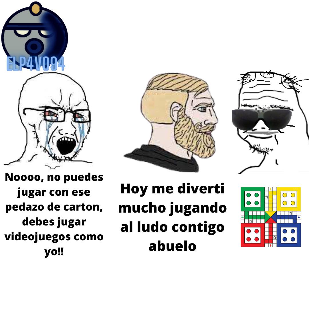 The virgin videojuego vs The chad ludo - meme