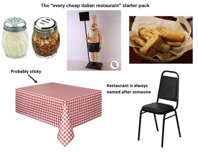 The every cheap Italian restaurant starter pack - meme