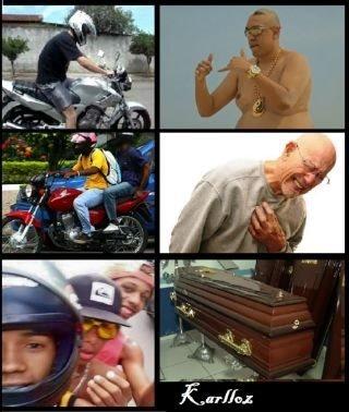 3 Caras numa moto - meme