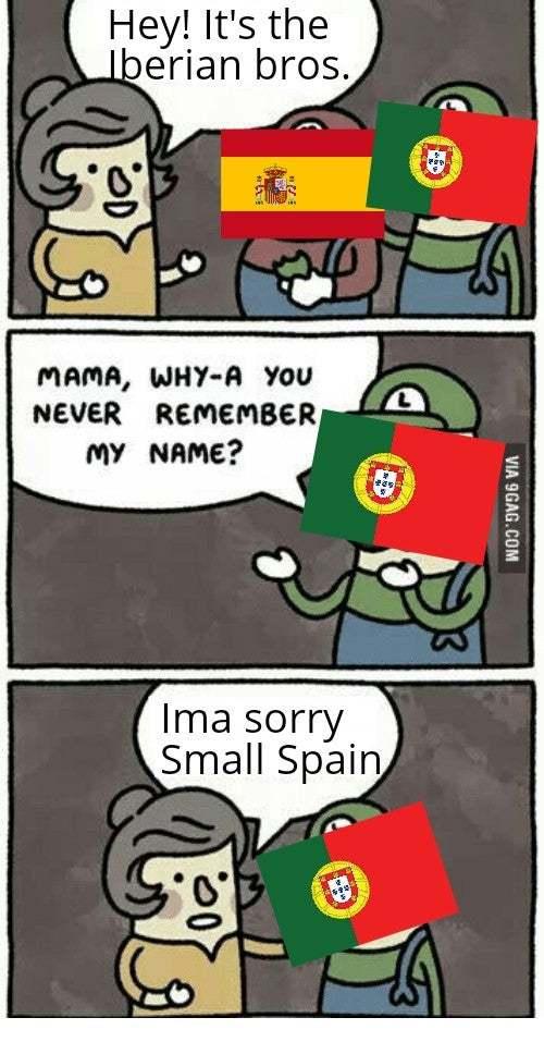 Portugal é um Estado na Espanha que fala brasileiro - meme
