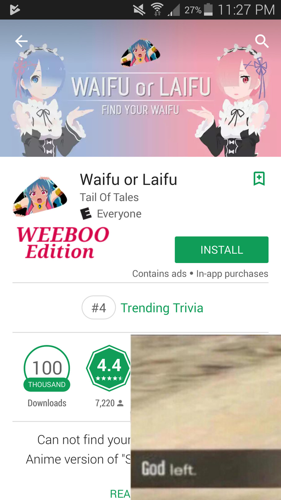 Weeboo in andriod store fuck that! - meme