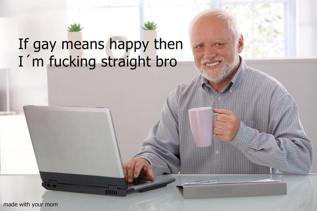 If gay means happy then I'm fucking straight - meme