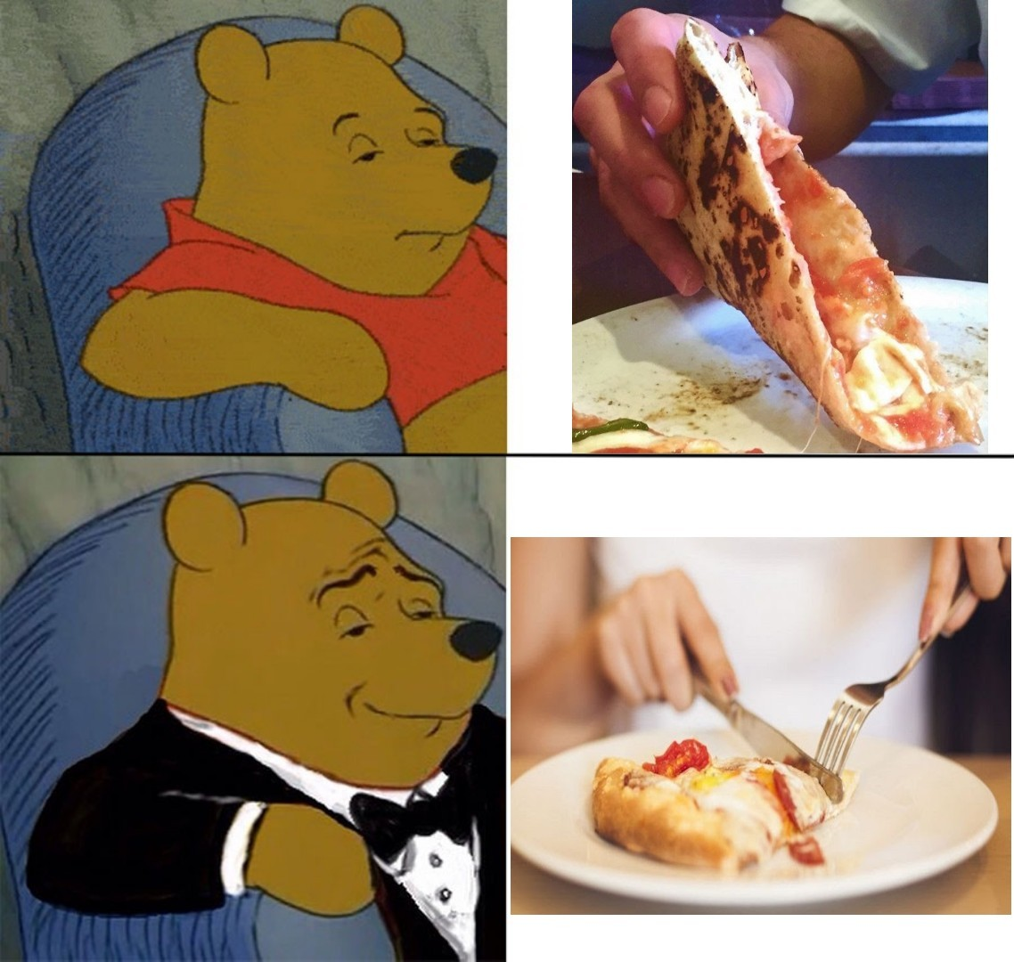 Mangiare la pizza like a sir - meme