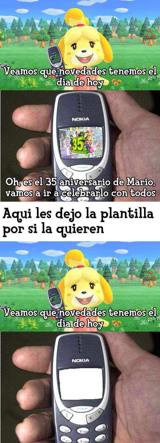 Feliz 35 aniversario de Mario para todos - PD: Yo hice la plantilla de Canela con el Nokia 3310 en la mano recibiendo un mensaje, espero que les guste la plantilla y que ustedes puedan usarla - meme