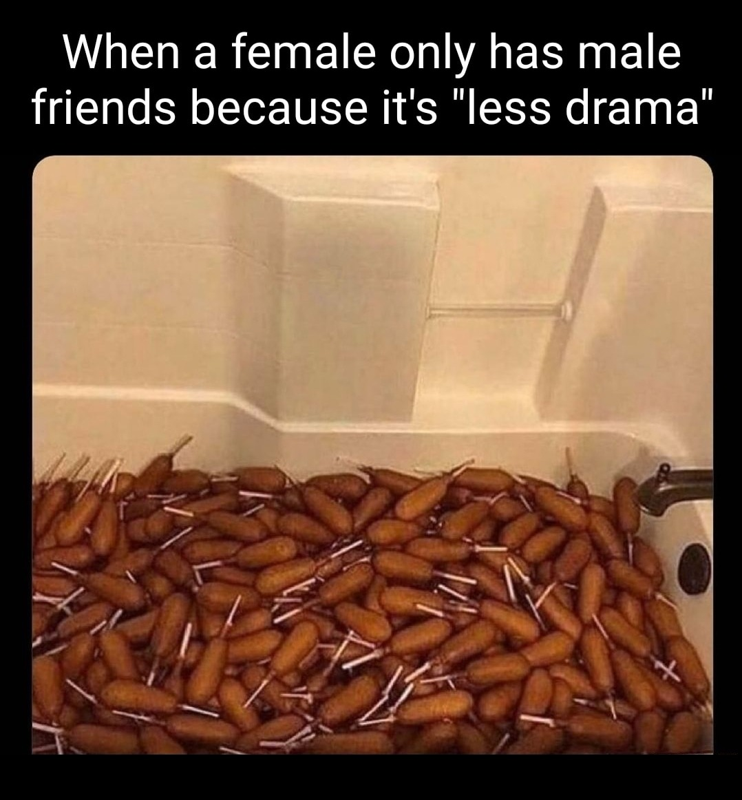 """When a female only has male friends because it's """"less drama"""" - meme"""