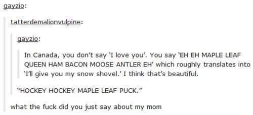 EH EH MAPLE LEAF QUEEN HAM BACON MOOSE ANTLER EH to third comment - meme