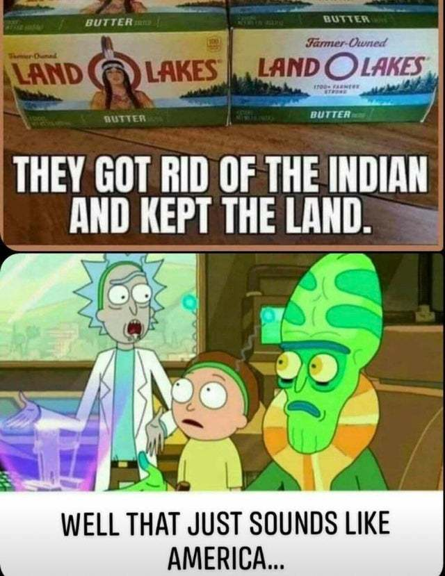 They got rid of the Indian and kept the land - meme