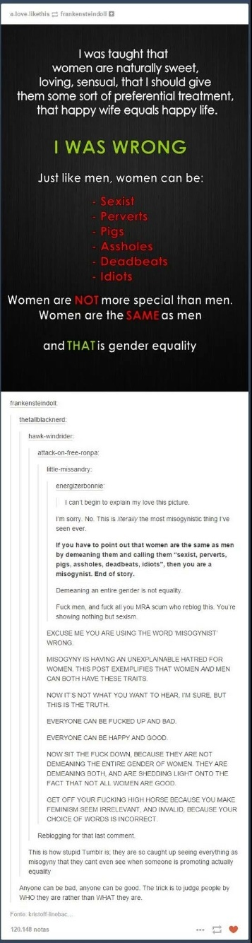 feminism isn't about equality - meme