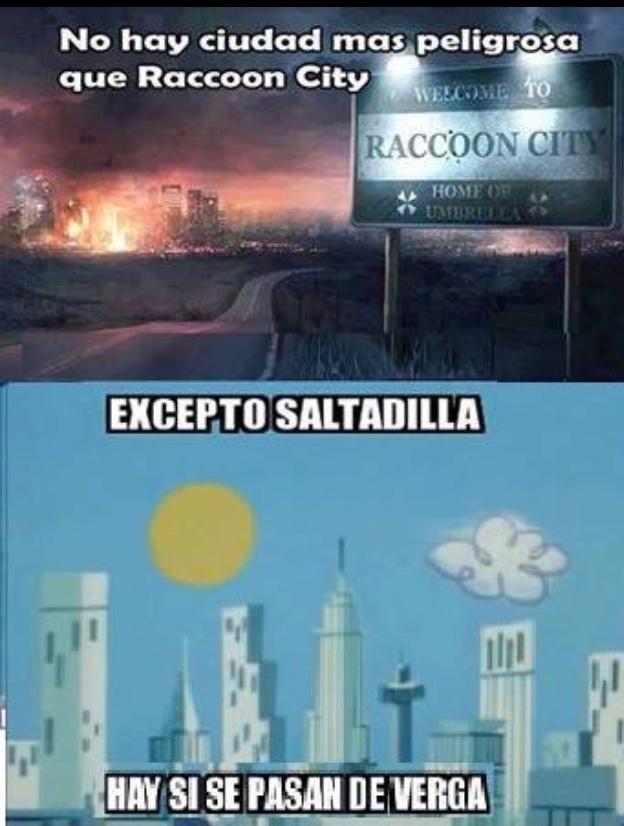racoon city no se compara con saltadilla - meme