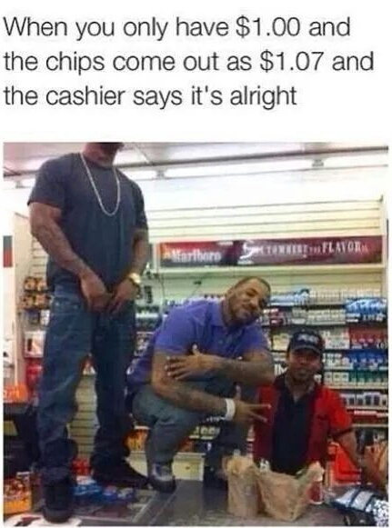 Good guy cashier - meme
