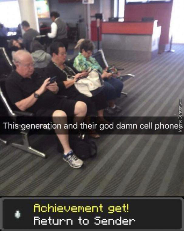 These darn boomers and their phones - meme