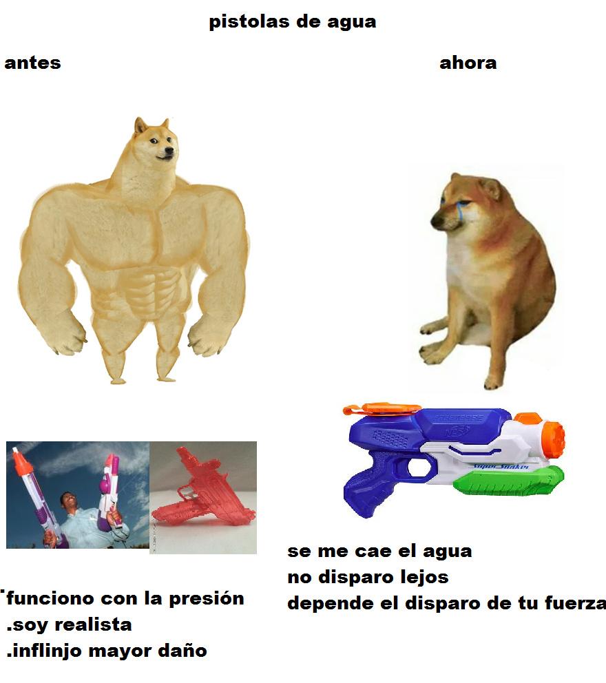 pistolas de agua - meme