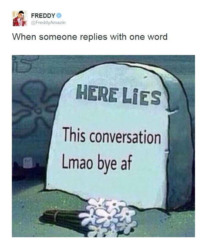 One word replies - meme
