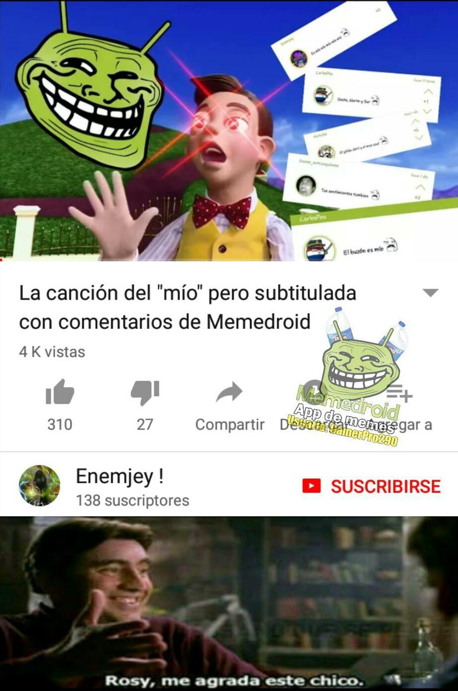 Enemjey me agrada tu video - meme