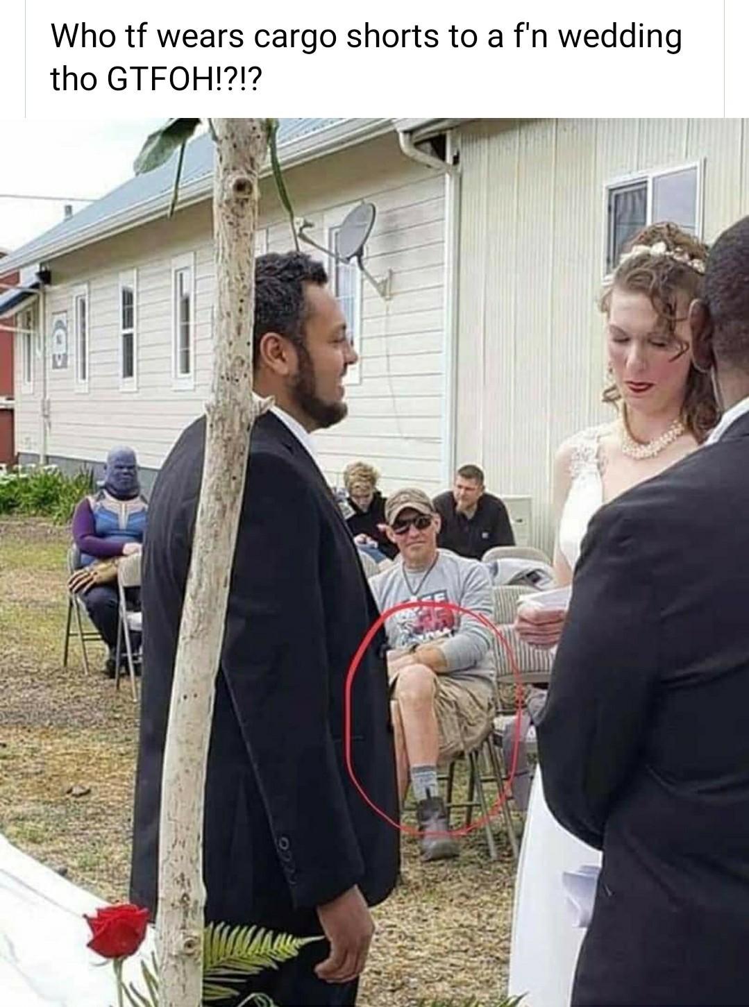 Never wear cargo shorts to a wedding - meme