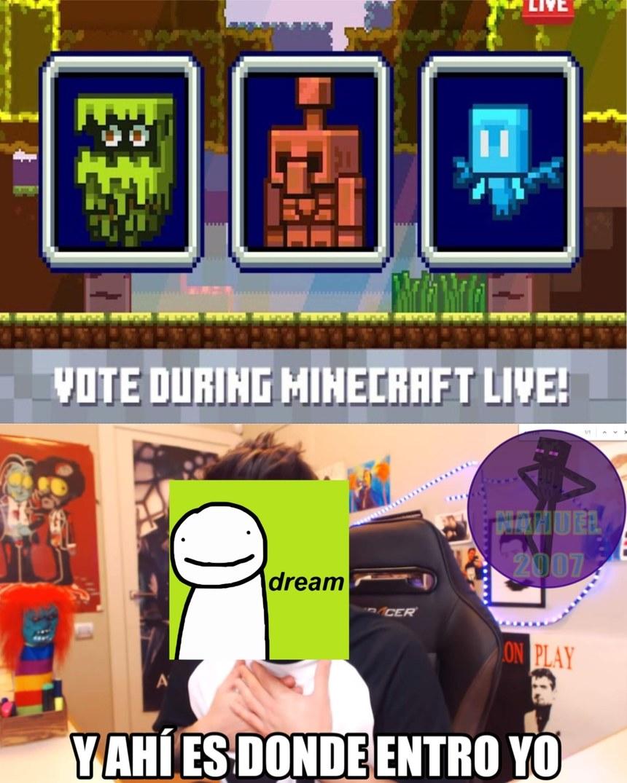 Espero que dream no arruine de nuevo las votaciones como lo hizo en el año pasado que mando a sus seguidores a que votaran por el glow squid :sadtroll: - meme