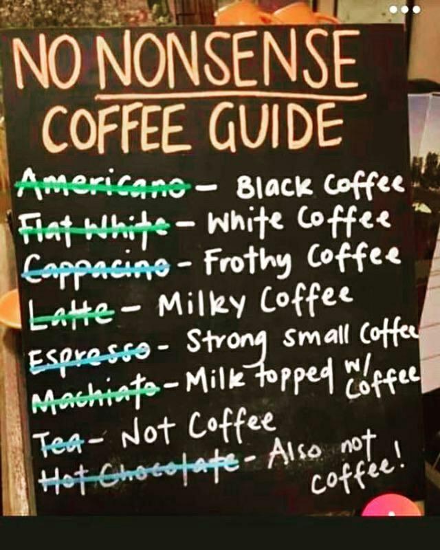 No nonsense coffee guide - meme