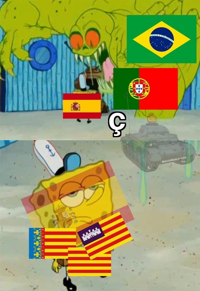 Contexto: Las banderas que tienen varias rayas amarillas y rojas son las comunidades autónomas en las que también se habla el catalán y sus variantes,  idioma que también tiene la Ç - meme