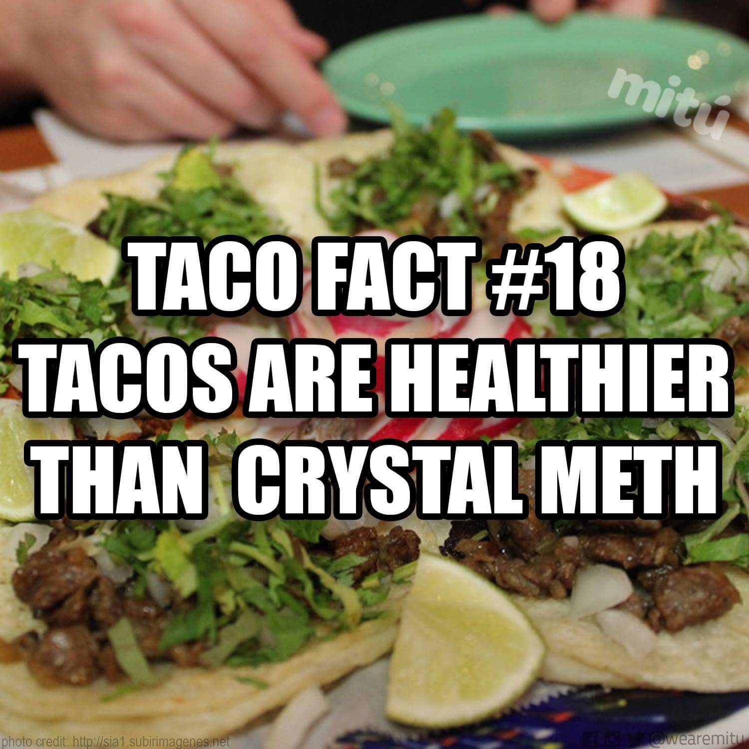 Tacos. Healthier than Methamphetamine. - meme