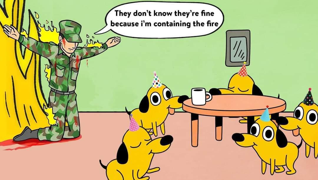 Le chiens est dans la maison en feu normalement - meme