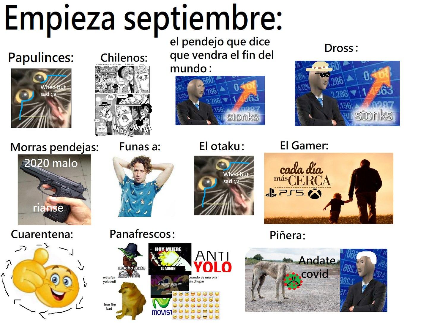 1 de septiembre chavones, perdonen los dibujos pal culo - meme