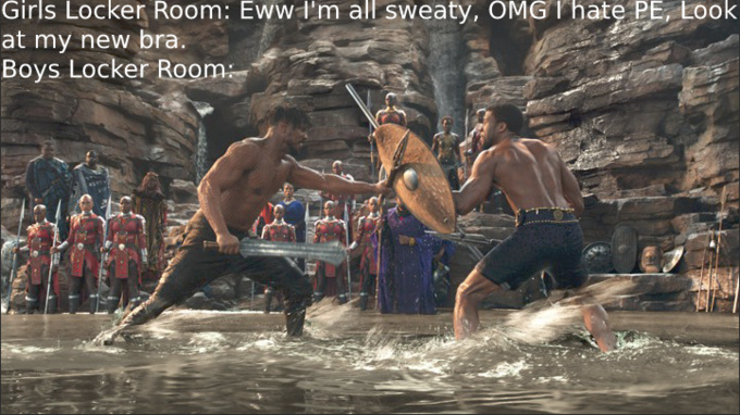 Wakanda in locker room - meme